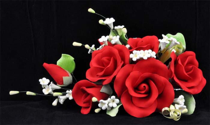 Large assorted garden rose spray red 15 x 20cm