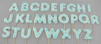 A to Z letters on stick, Large size in Blue (26 pcs / box)