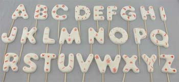 A to Z letters on stick, Large size in White with red decorations (26 pcs / box)