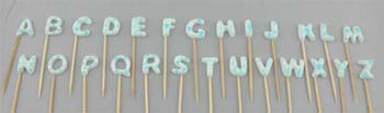 A to Z letters on stick, Small size in Blue (26 pcs / box)
