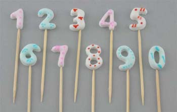 0 to 9 numbers on stick, Small size in Mix colours (40 pcs / box - 4 set of 10)