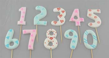 0 to 9 numbers on stick, Large size in Mix colours (20 pcs / box - 2 set of 10)
