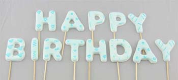 HAPPY BIRTHDAY on stick, Large size in Blue colour (52 pcs / box - 4 sets)