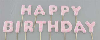 HAPPY BIRTHDAY on stick, Large size in Pink colour (52 pcs / box - 4 sets)