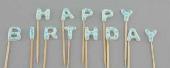 HAPPY BIRTHDAY on stick, Small size in Blue colour (52 pcs / box - 4 sets)
