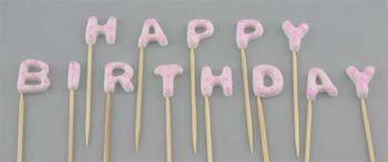 HAPPY BIRTHDAY on stick, Small size in Pink colour (52 pcs / box - 4 sets)
