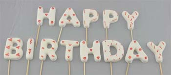 HAPPY BIRTHDAY on stick, Small size in White colour (52 pcs / box - 4 sets). Please note the photo is the large size and for illustration only