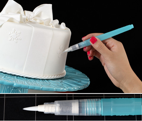 This Medium Water Brush is better for more well rounded work.  Works great for small details and is large enough to tackle bigger designs as well.  This brush is also great for edible glue application for gluing fondant accents onto your fondant cake.  Simply apply water to fondant to adhere decor or fill the brush with water & a bit of CMC: fondant stabilizer & the glue is ready at all times.  Works best with Lustre & Petal Dusting Colors.